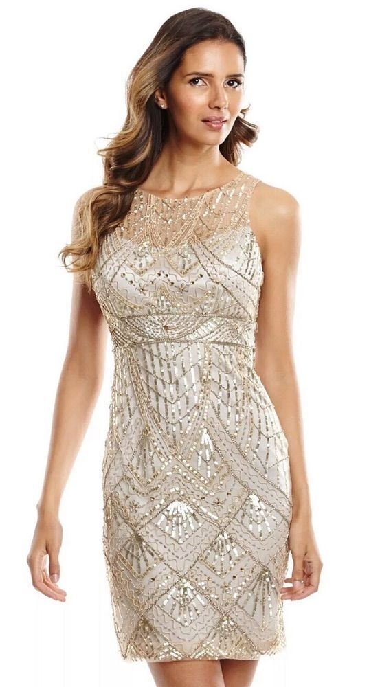 Sue Wong Champagne Silver Beaded Sequin Wedding Bridal Cocktail