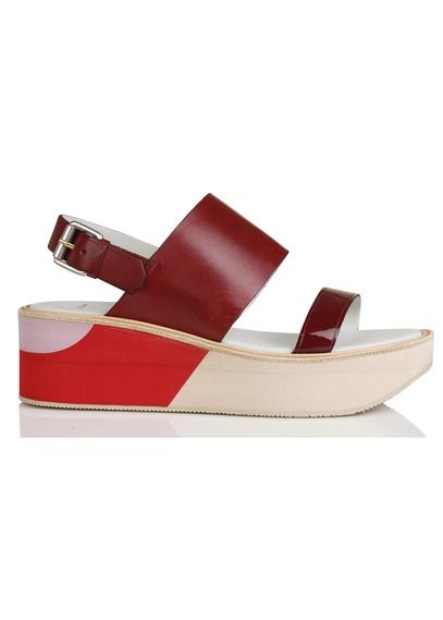 8fd29fa32db7ed Sandales compensées en cuir Bennet Rouge by PAUL SMITH   Chaussures ...