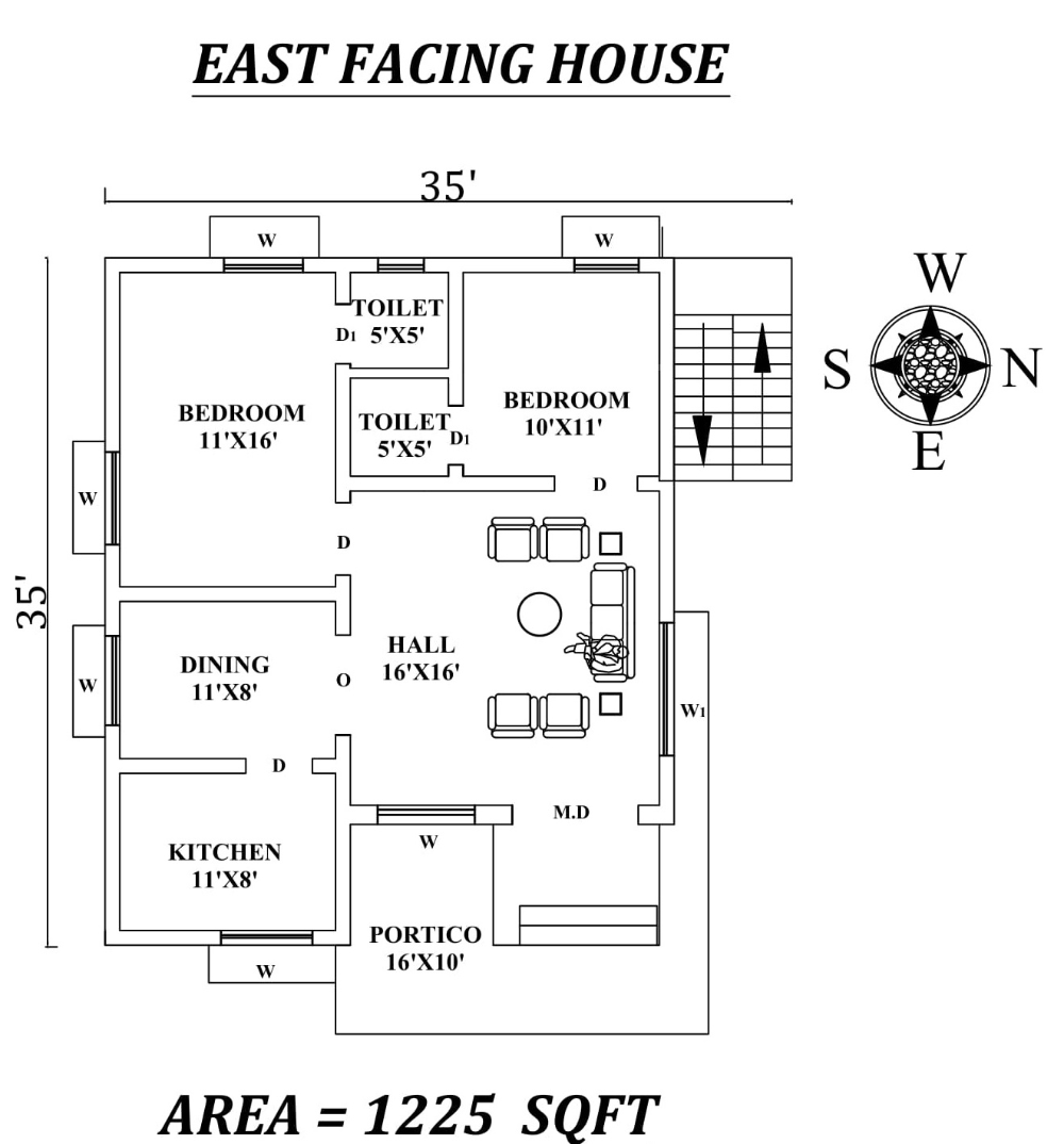 35 X35 Amazing 2bhk East facing House Plan As Per Vastu Shastra Autocad DWG and Pdf file details