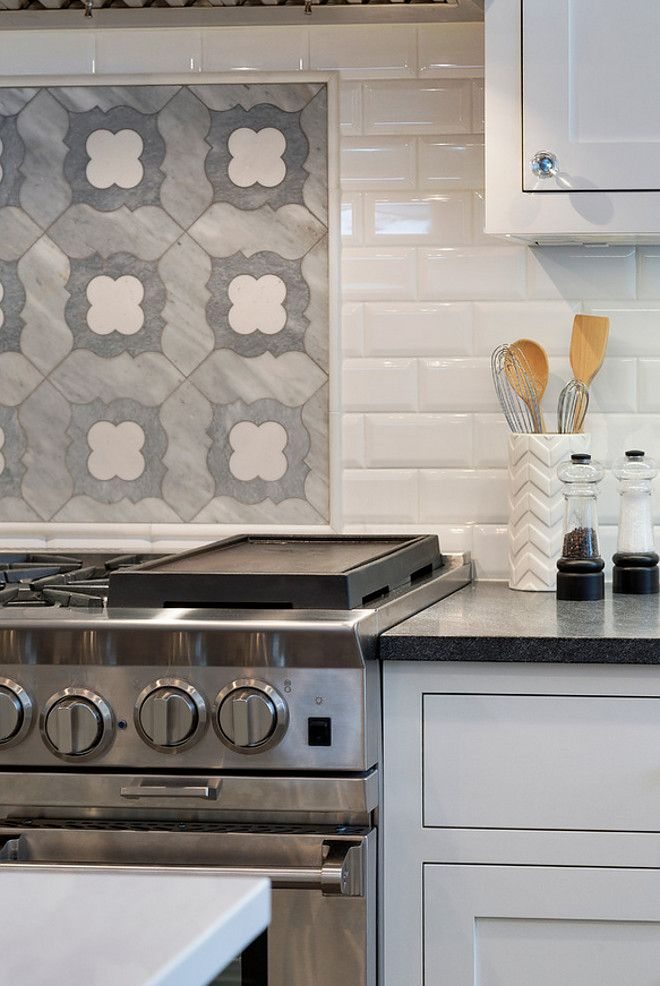 Range Accent Tile Backsplash The Accent Tile Above The Cooktop Is A Marble Mosaic It Is From Backsplash Tile Design Kitchen Tiles Backsplash Kitchen Cooktop