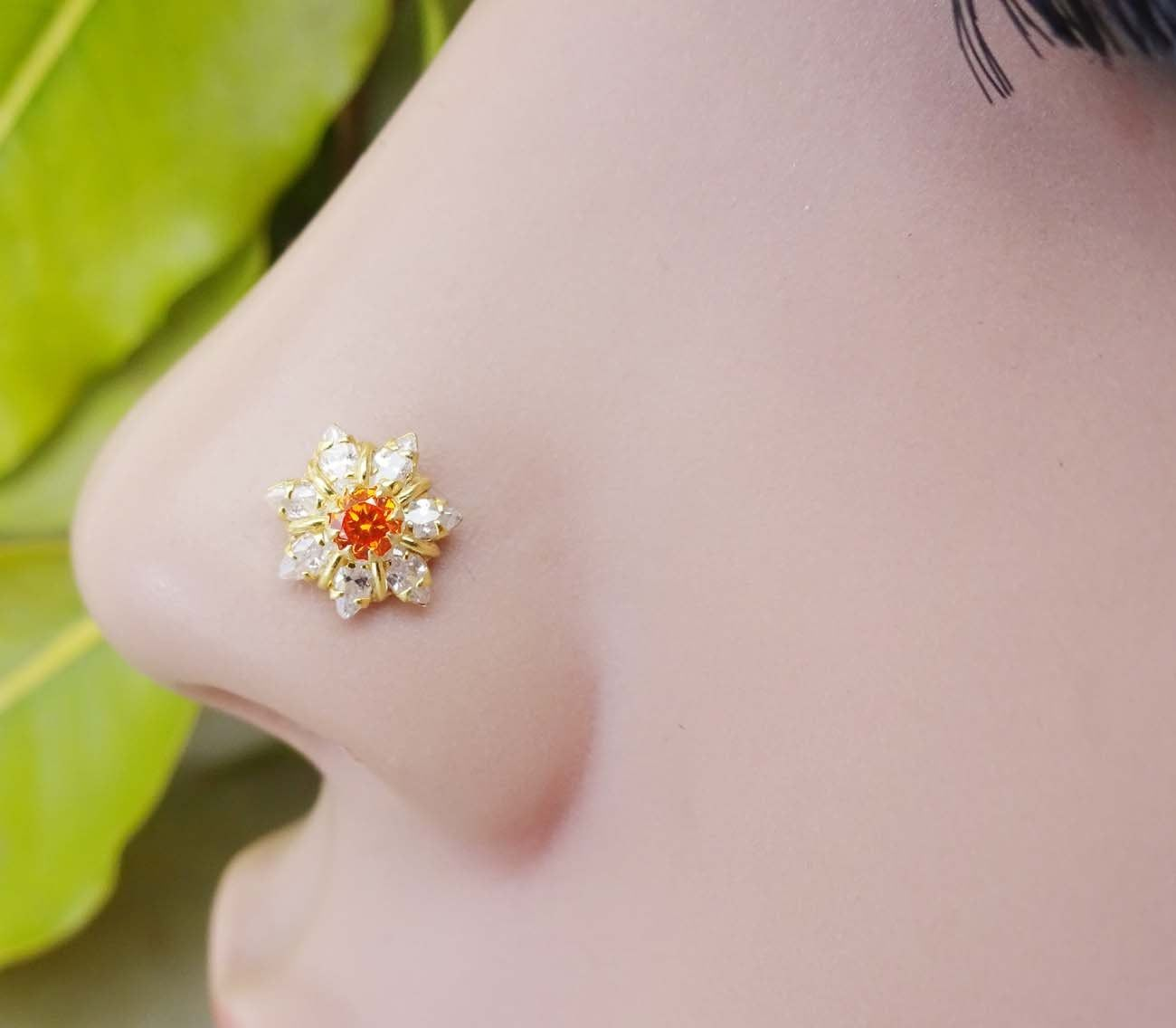 Indian Nose Ring Mother Day Gifts Crock Screw Flower Nose Piercing CZ Jewelry