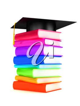 iCLIAPRT - 3D Render of a Graduation Cap on a Pile of Books