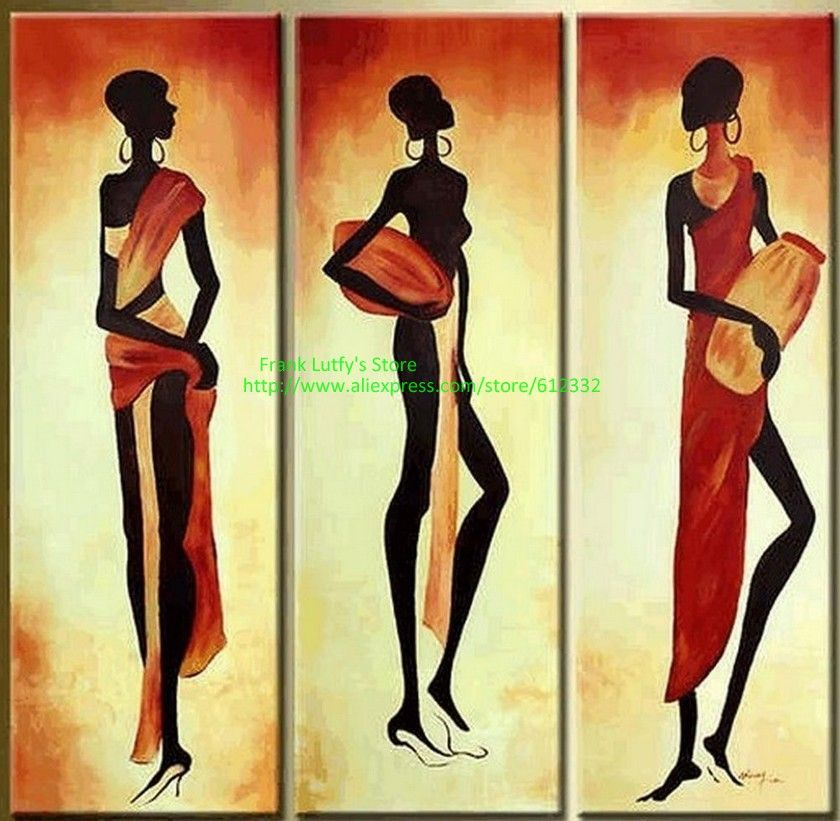 African Drum 3 pcs canvas wall art sets 100% hand painted high ...