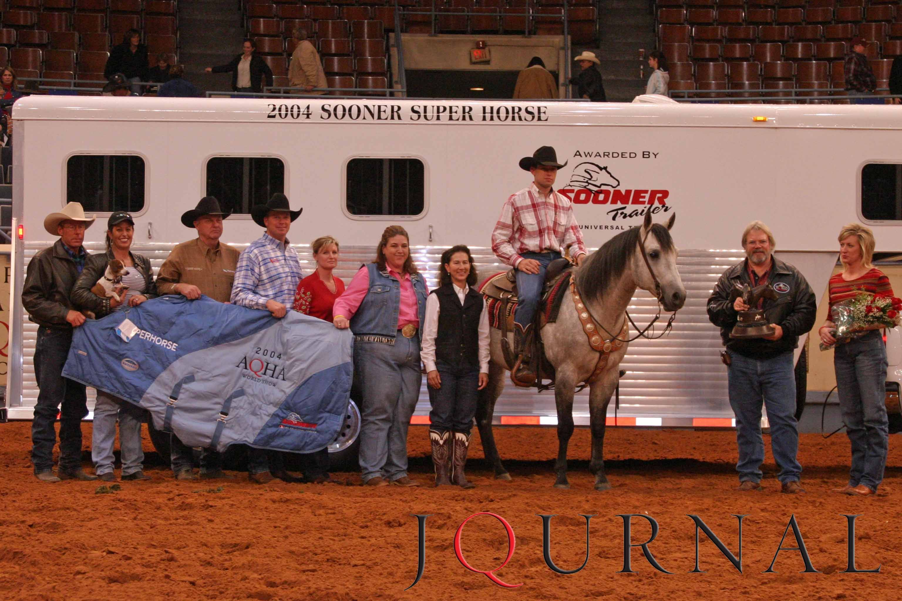 The 2004 Farnam Superhorse Award was presented to the 1997 AQHA stallion Real Gun, owned by the RT Stuart Ranch in Waurika, OK. Visit http://www.AQHA.com/showing for more great American Quarter Horse showing news. (Journal Photo)