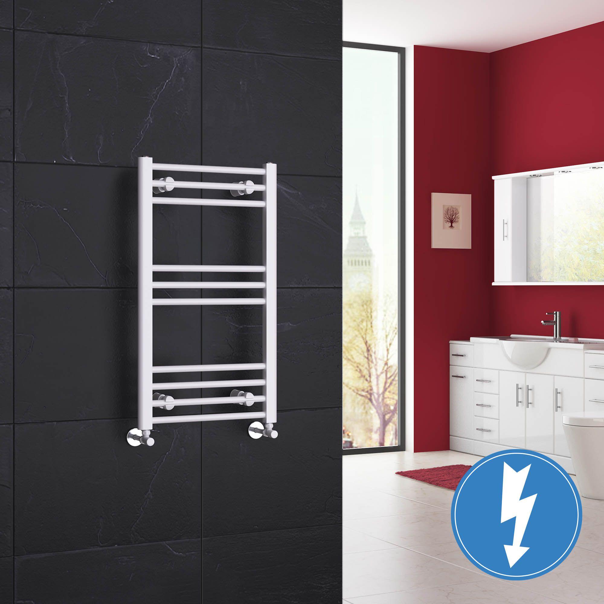 Natasha ladder rail straight modern electric towel radiator in chrome - Ladder Rail Straight Modern Electric Towel Radiator In White 800mm X 450mm