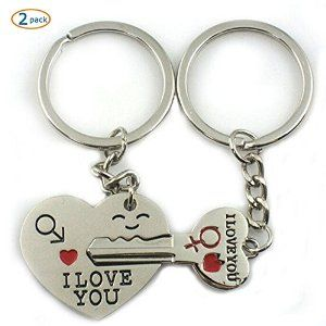 Amazon.com: World Pride Key to My Heart Cute Couple Keychain Love Keychain Key Ring: Office Products