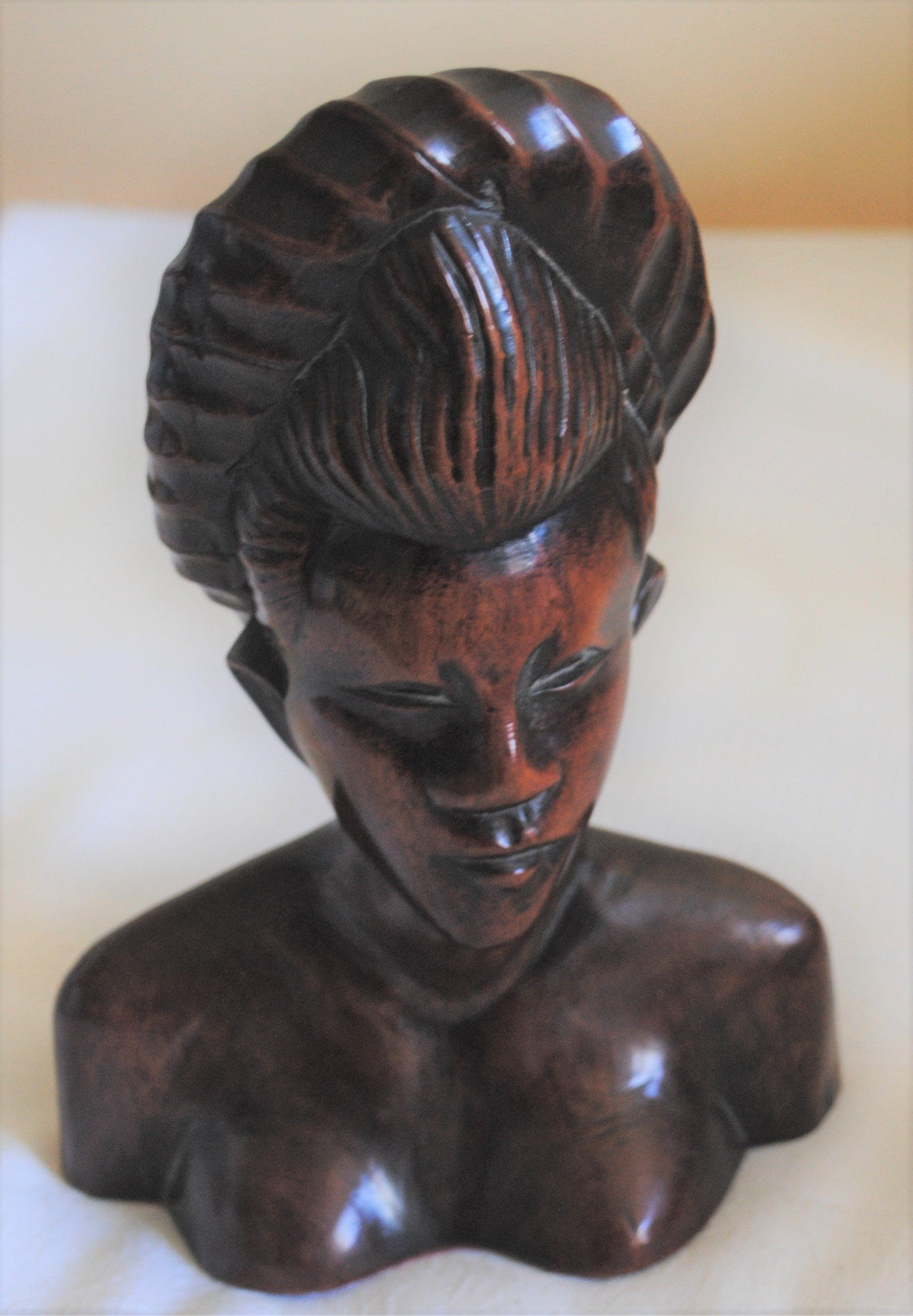 Javanese Asian Indonesian Wooden Sculpture, Carved Hard
