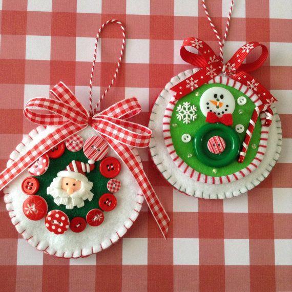 Christmas Felt Ornaments / Santa Claus and Snowman Ornaments / Set