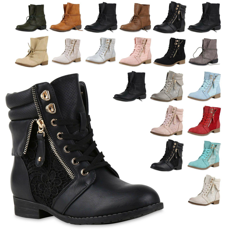 Damen Stiefeletten Worker Schuhe Stiefel Outdoor 825282