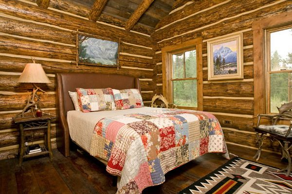 Nice Lodge Bedroom Ideas With Rustic Furniture Set Love The Windows