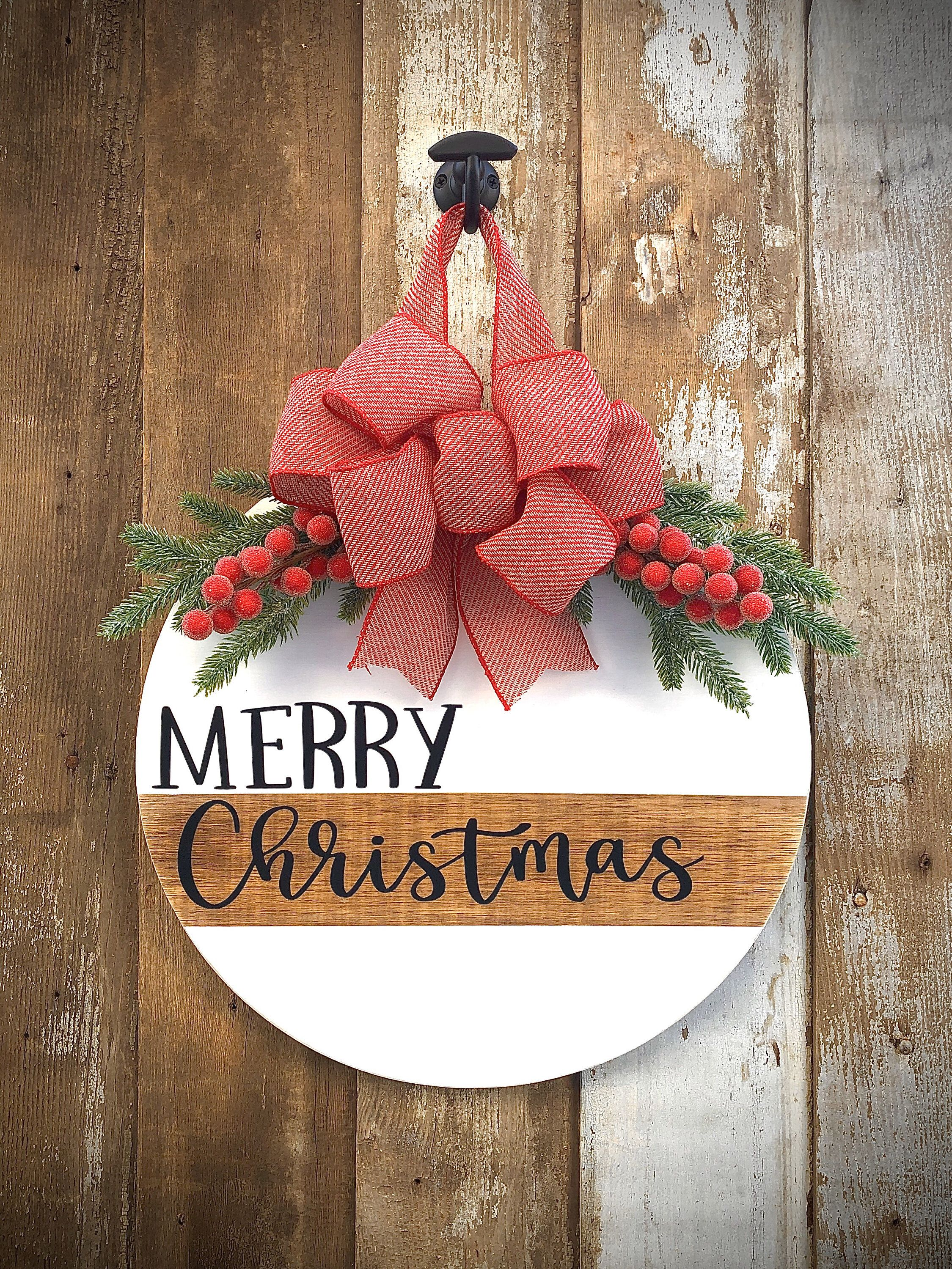 Merry Christmas Door Hanger Front Door Sign Christmas Door Wreath Christmas Door Decor Round Christmas Sign Merry Christmas Christmas Christmas Door Hanger Christmas Door Decorations Merry Christmas Sign