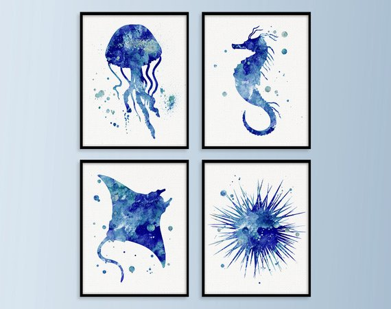 Coastal Prints Set Watercolor Sea Life Set Of  Paintings
