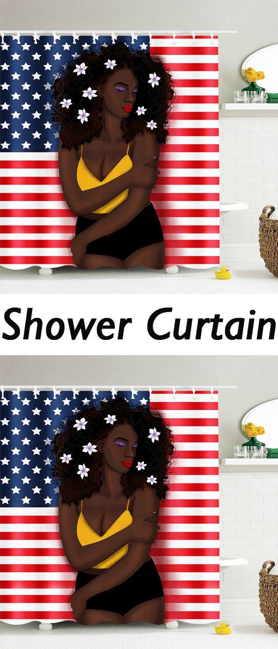 Afro Hair Girl American Flag Pattern Patriotic Shower Curtain | Hair ...