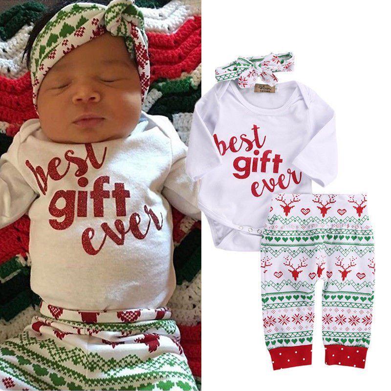 UK Christmas Newborn Baby Girl Boy Clothes Romper Headband Xmas Birthday Gifts