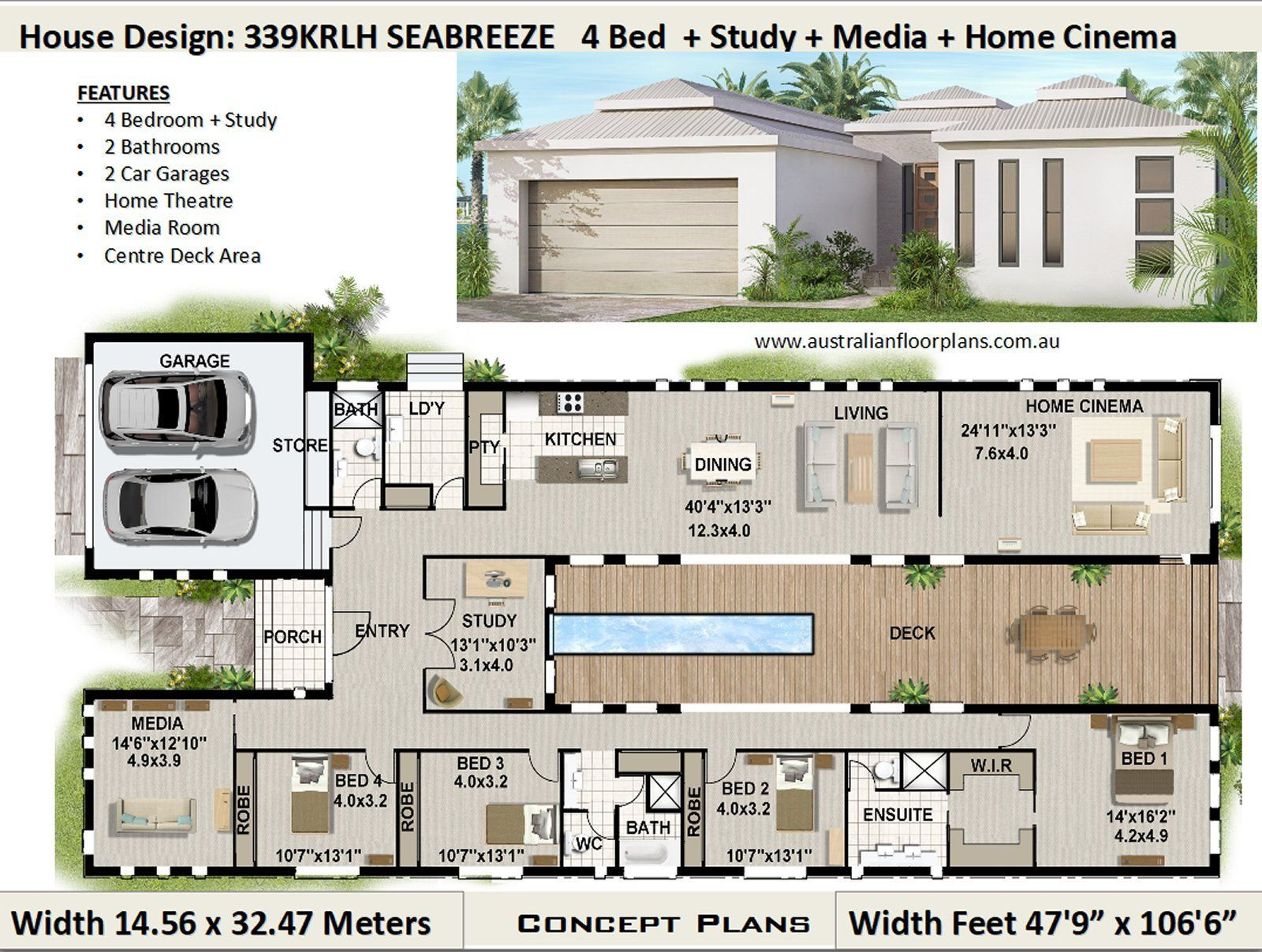 418m2 4503 Sq Foot 5 Bedflat 4 Plus Study Home Design Etsy Courtyard House Plans Bedroom House Plans Container House Plans