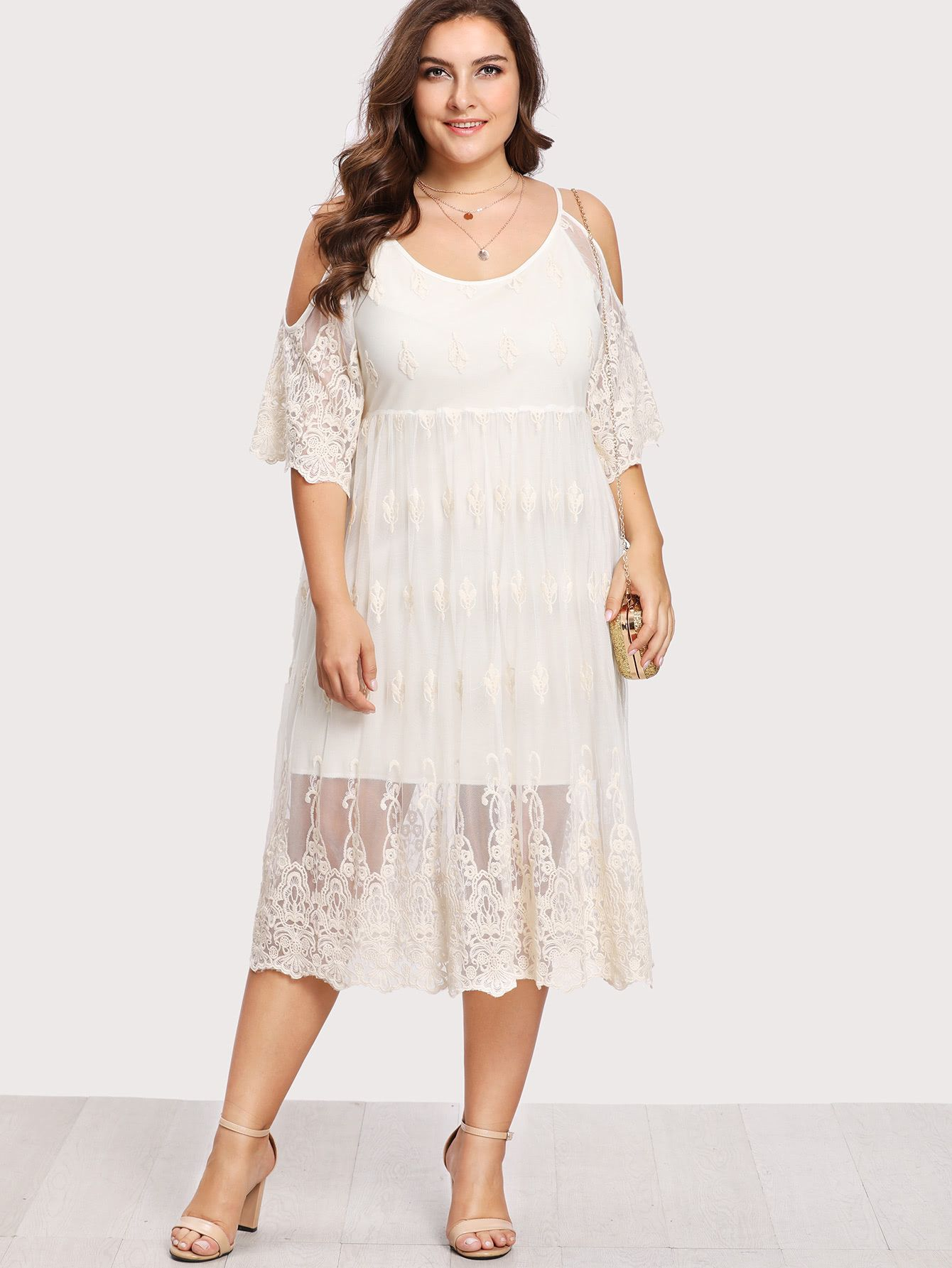 Plus Embroidery Lace Overlay Open Shoulder Dress Lace Overlay Dress Plus Size Dresses Open Shoulder Dress [ 1785 x 1340 Pixel ]