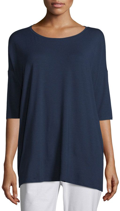 Eileen Fisher 3/4-Sleeve Boxy Tunic, Plus Size