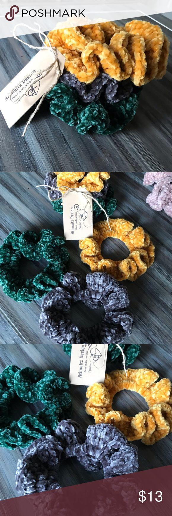 HAIR ACCESSORY SCRUNCHIE Velvet yarn handmade crocheted scrunchie 3 pieces, colo...,  #Access... #crochetscrunchies