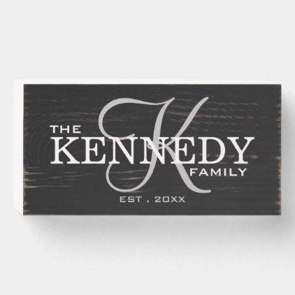 Black Family Monogram Last Name Wooden Box Sign Family Signs Diy Wooden Family Signs Wooden Signs Diy