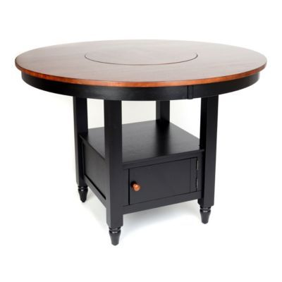 British Isle Black Round Gathering Table With Lazy Susan Built In!|  Kirklands