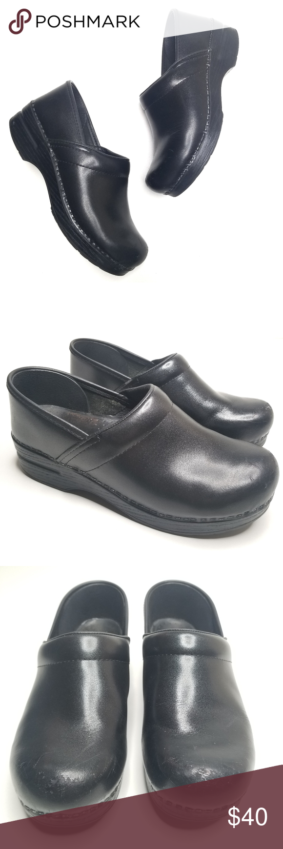 Dansko Black Classic Comfort Cloggs 38 Dansko Black Classic Comfort Cloggs 38 Gently preowned condition, please see photos! Genuine leather  Perfect for nursing and waitressing.  Thank you for shopping Tamsin's Threads. Dansko Shoes Mules & Clogs #thankfulforyou