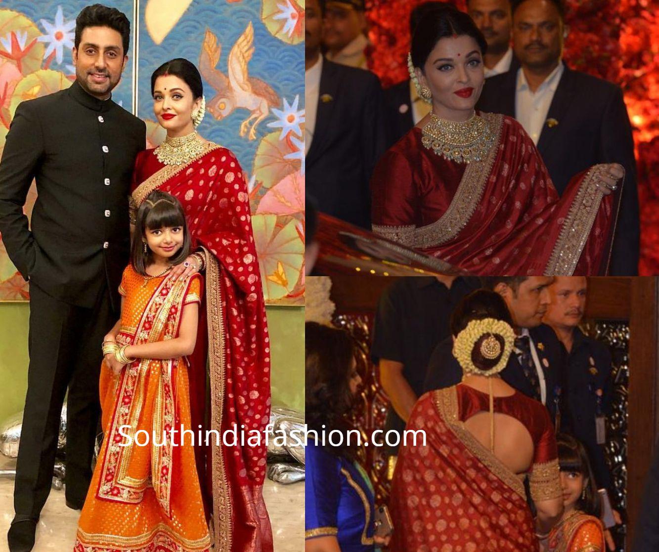 Aishwarya Rai With Family At Isha Ambani And Anand Piramal S Wedding South India Fashion Red Saree Blouse Sabyasachi Dresses Silk Saree Banarasi