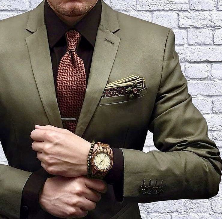 Men S Green Custom Suit With A Red Tie Black Shirt And Watch Get