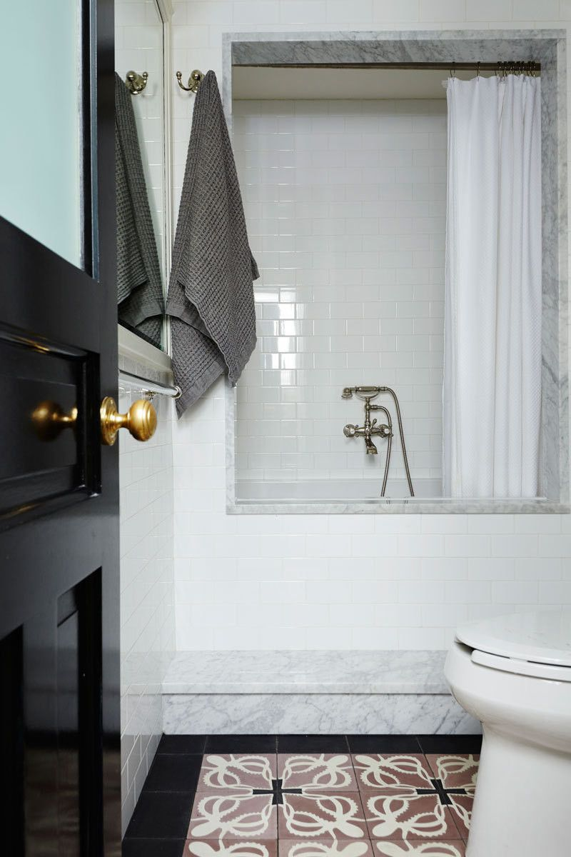 Bovard interiors bathrooms modern bathroom rubber ducky bathroom - A Perfectly Patterned Brooklyn Heights Home For The Ages Cool Bathroom With White Subway Tile
