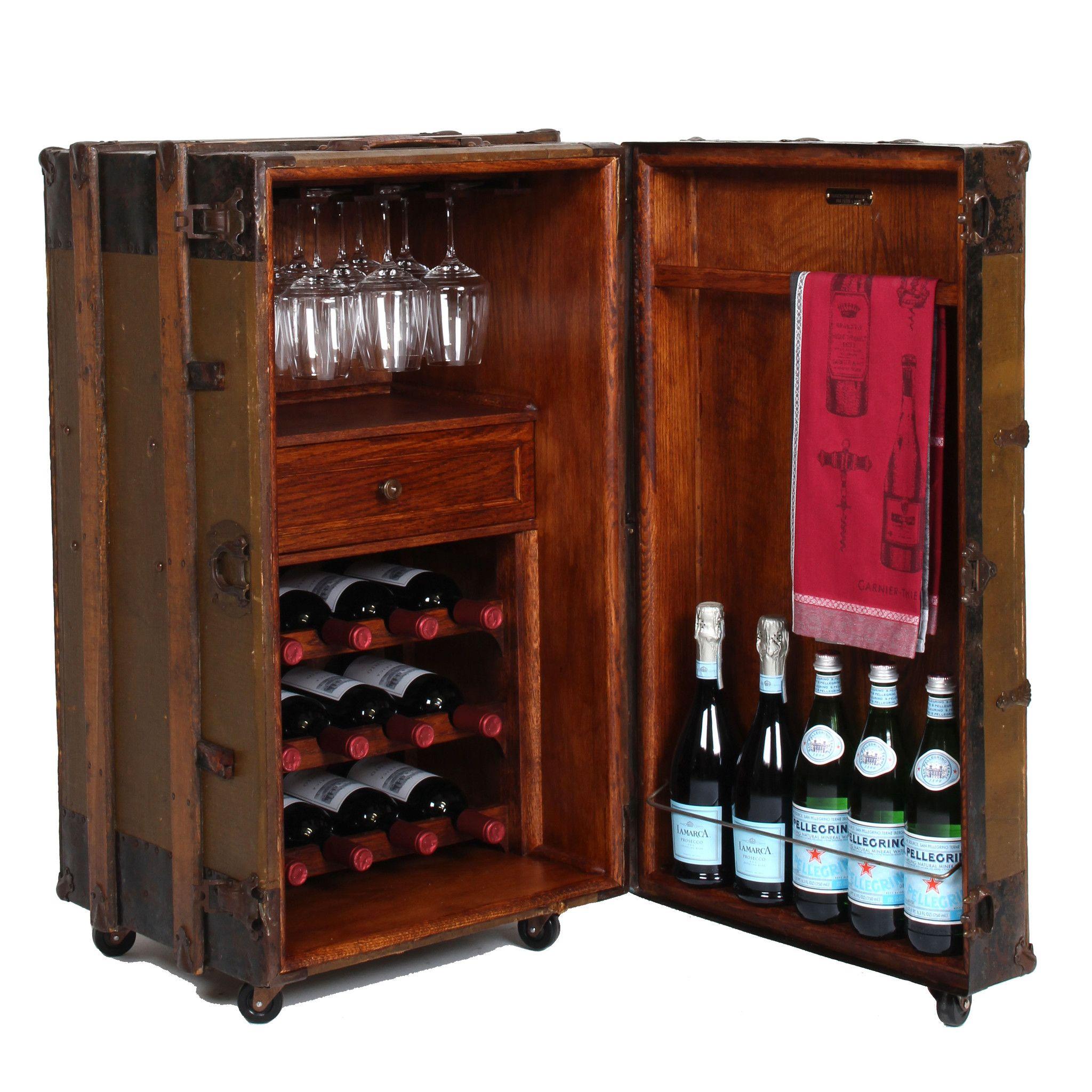 One Of A Kind Vintage Steamer Trunk Wine Bar Cabinet Handcrafted