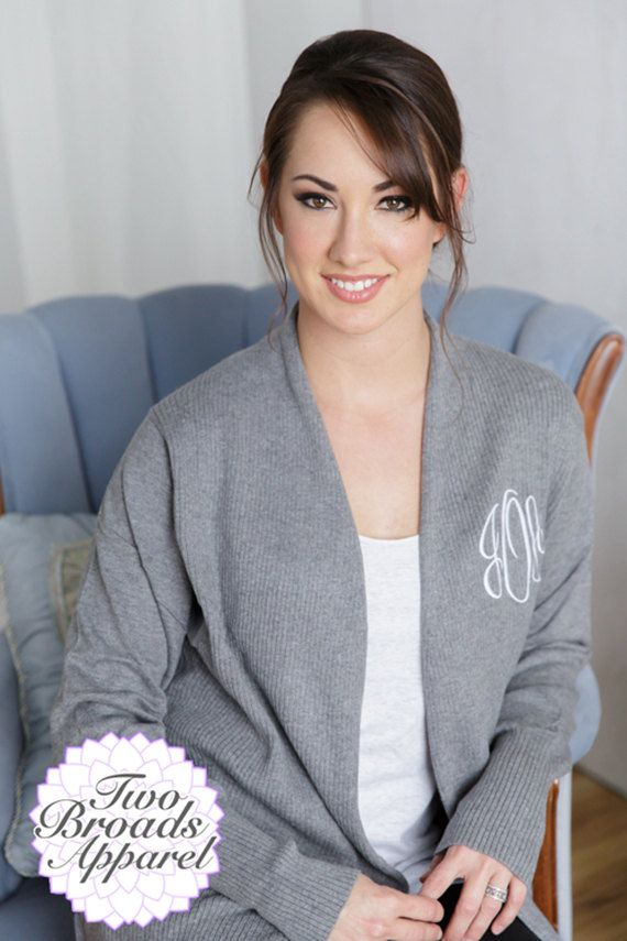 Monogrammed Open Front Cardigan Monogrammed by TwoBroadsApparel