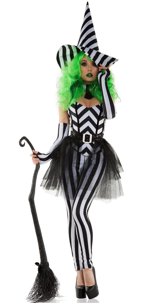 Our Betel Witch costume showcases black and white stripe corset, leggings, belt…