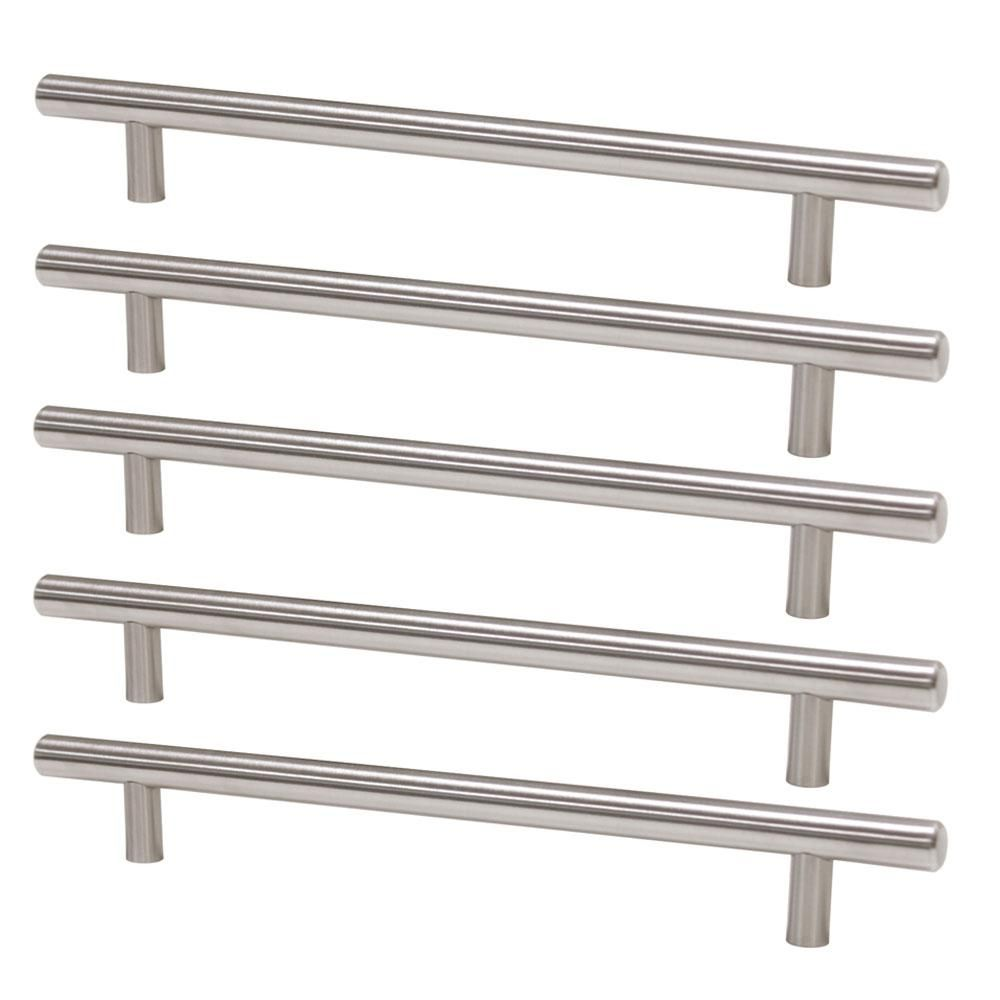 5 Pack Modern T Bar Cabinet Pulls Brushed Nickel Finish 7 9 16 Inch Hole To Hole 10 Inch Length 10 Things Modern Bar Drawer Handles