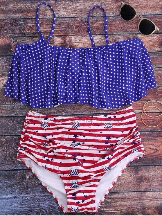 526178169a3 Pentagram Print High Waisted Bikini Set - BLUE S Mobile American Flag  Swimsuit, Bikini Set