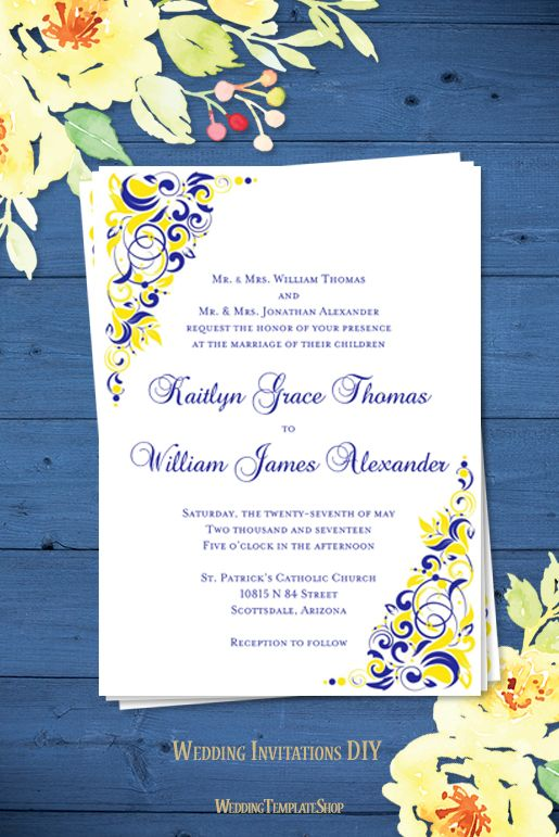 Gianna Wedding Invitation Royal Blue Lemon Yellow