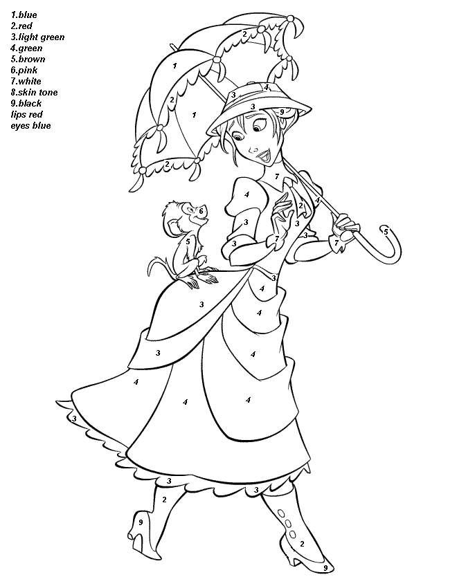 Cute Girl Color By Number Coloring Pages Princess Coloring Pages Disney Coloring Pages Disney Princess Coloring Pages