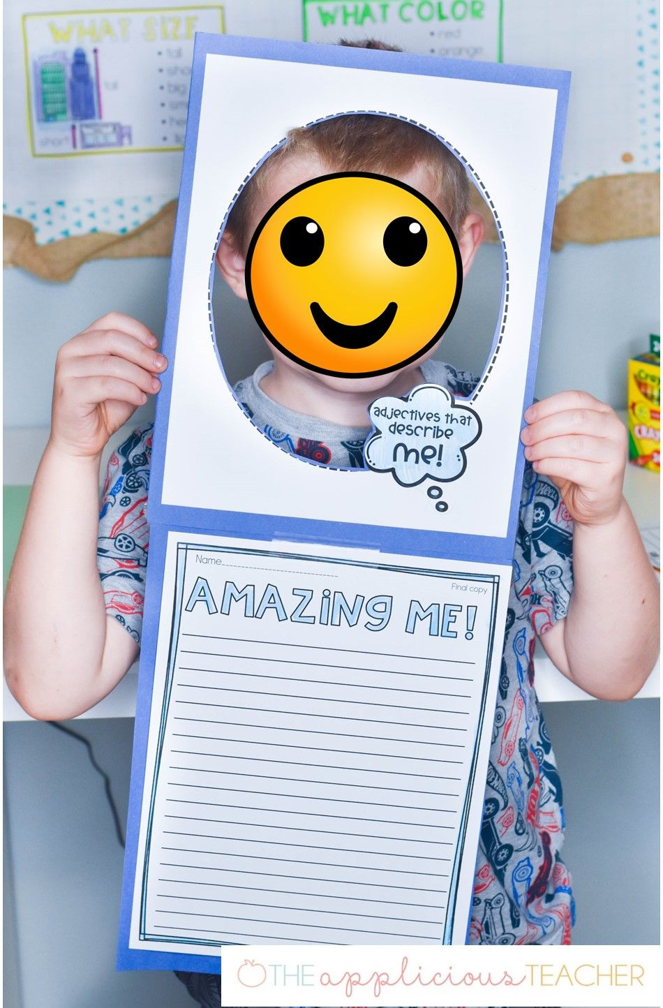 Adjectives That Describe Me Writing Activity And Craft Adjectives Activities Kindergarten Fun Kids Learning Activities [ 1444 x 950 Pixel ]