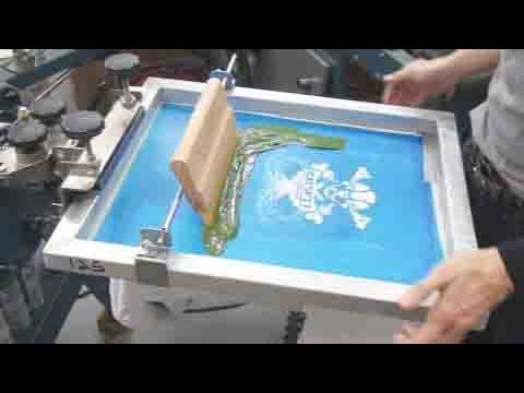 3 How To Screen Print Tee Shirts Setting Up 2 Color Job On Press Diy Screen Printing Diy Prints Screen Printing Press