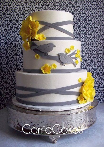 wedding cakes with birds yellow gray birds wedding cake needs then it would 25981