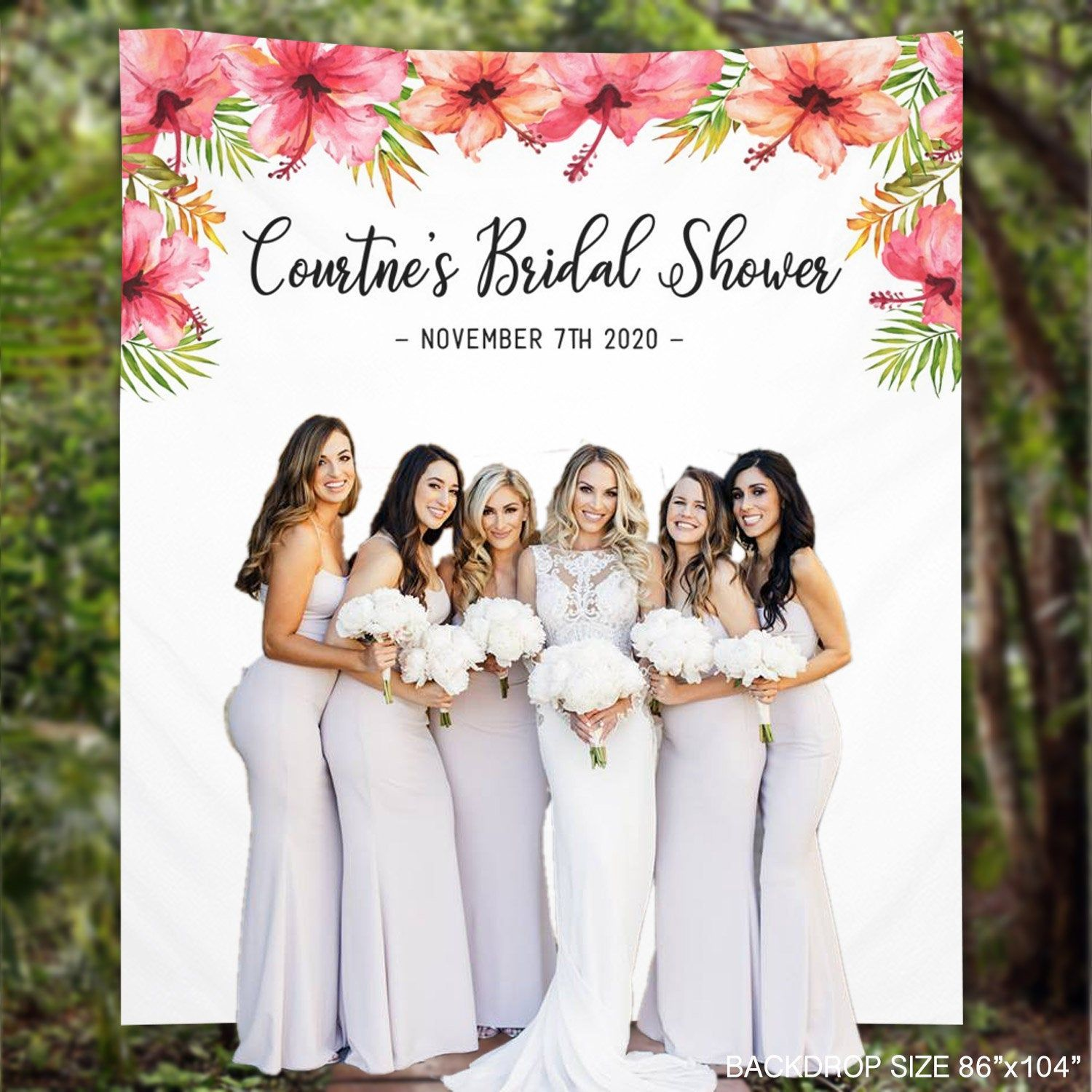 Sale 20 Bridal Shower Backdrop Hawaii Hibiscus Flowers Customize Banner Photo Booth Polaroid Pro Bridal Shower Backdrop Bridal Shower Photos Booth Wedding
