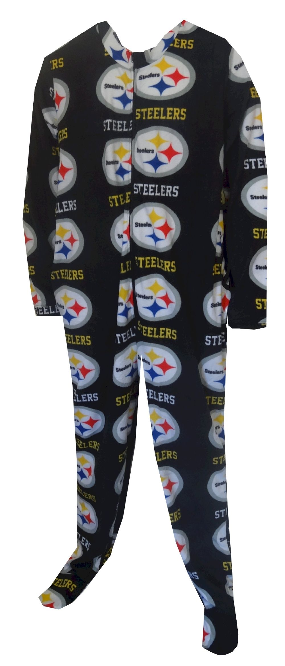 Pittsburgh Steelers Guys Onesie Footie Black Pajama Show your team spirit!  This cozy microfleece footie pajama for men features. 4fabb2d6e