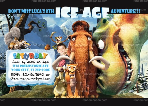 Ice Age Invitation Prehistoric Dinosaur Party Invite