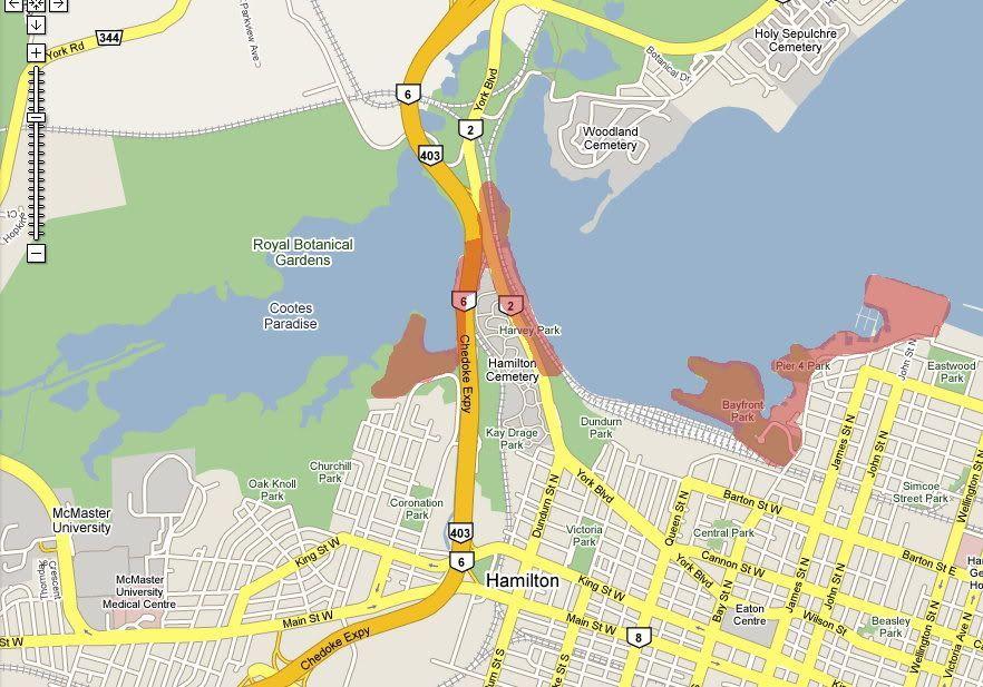 Hamilton Ontario Canada Map.Hamilton Waterfront West Harbour Map Hamilton Ontario The