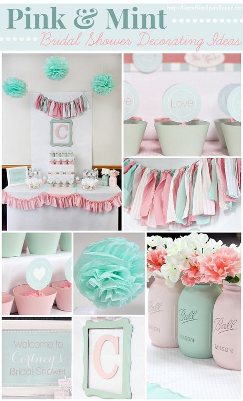 Decoración para BabyShower. -- Pink and Mint Bridal Shower Decorating Ideas via @Tonya Seemann @ Love of Family & Home | Fabric found at Jo-Ann Stores or Joann.com