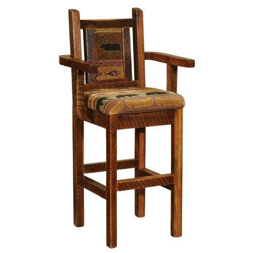 The Barnwood Upholstered Barstools are made from reclaimed Red Oak from s tobacco barns and are