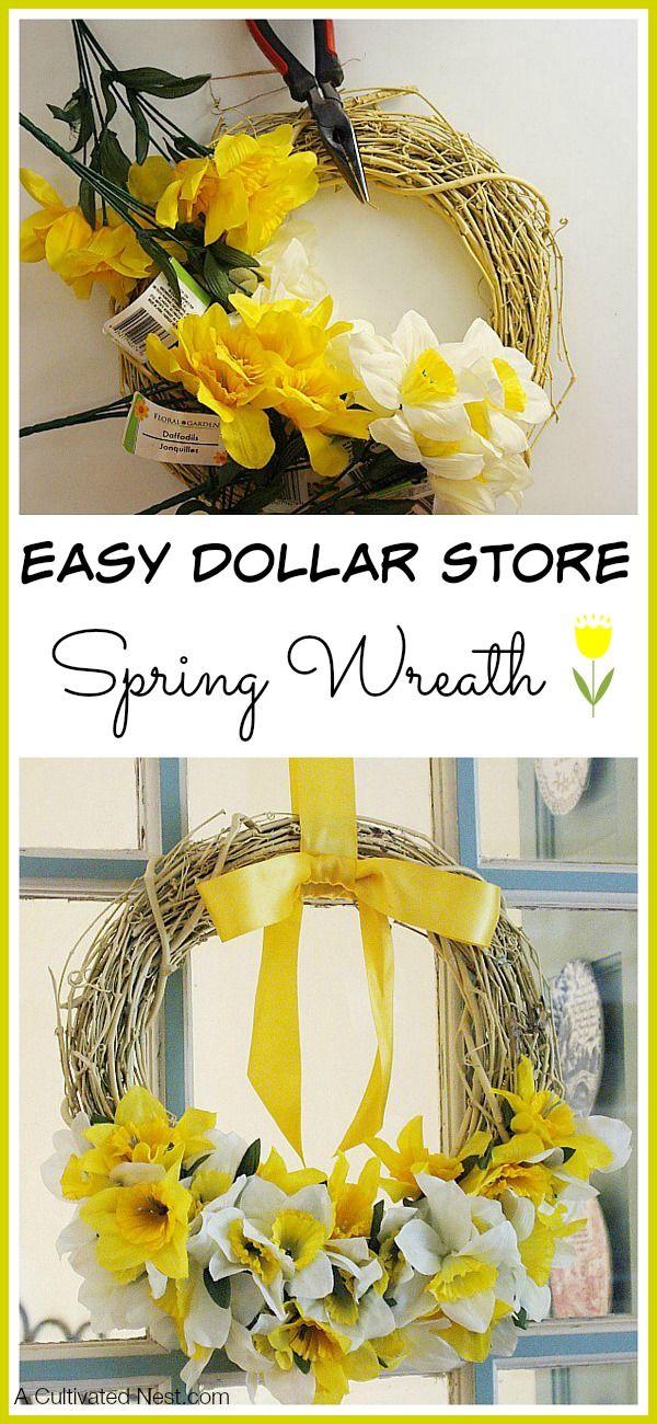 Easy Dollar Store Spring Wreath Diy Spring Wreath Spring Decor