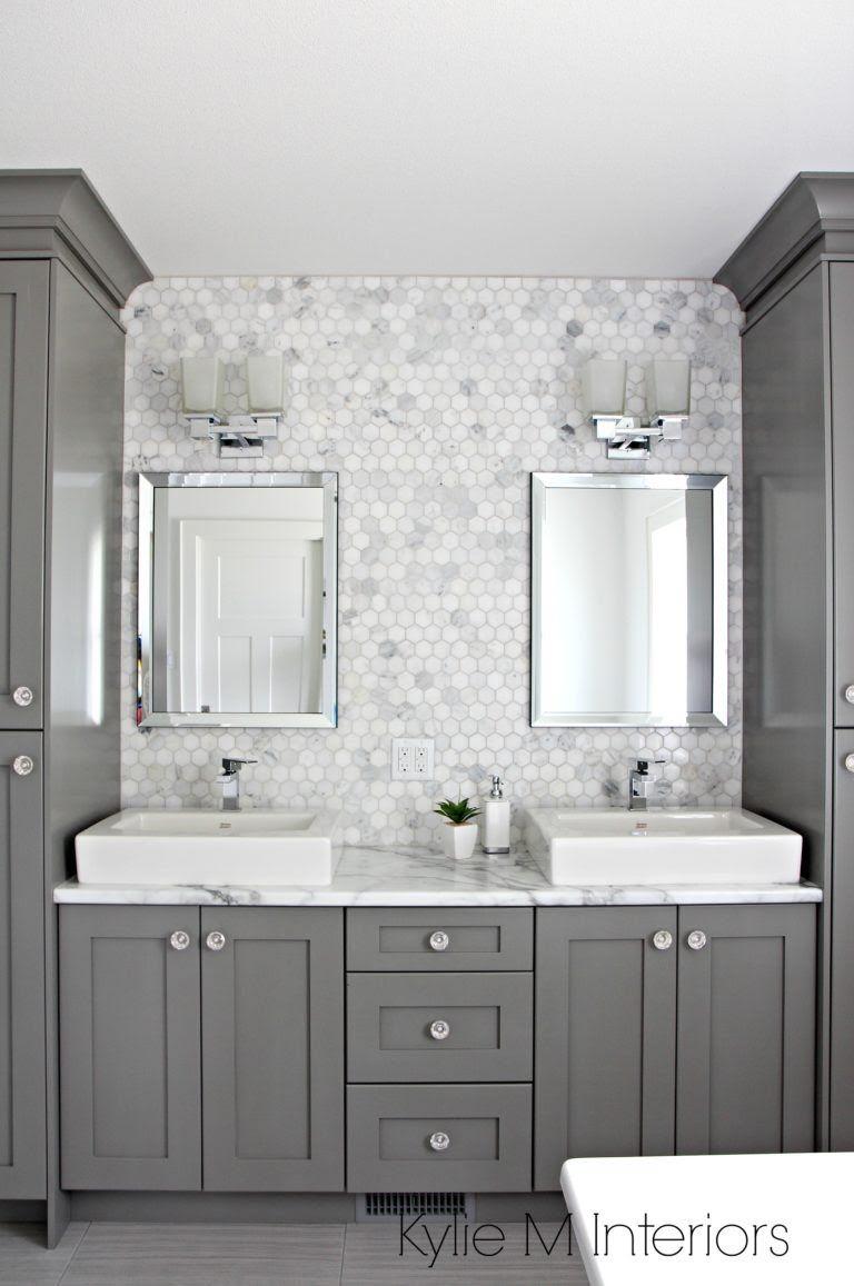 Double vanity in bathroom painted Benjamin Moore Chelsea Gray ...