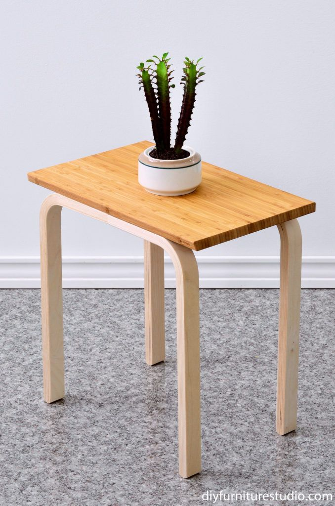 Easy IKEA Hack DIY side table made with frosta stool and