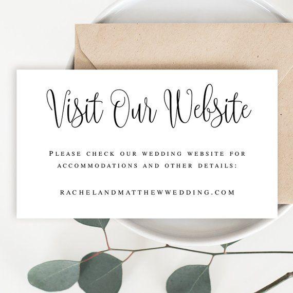 Wedding website card insert template Visit our website card template