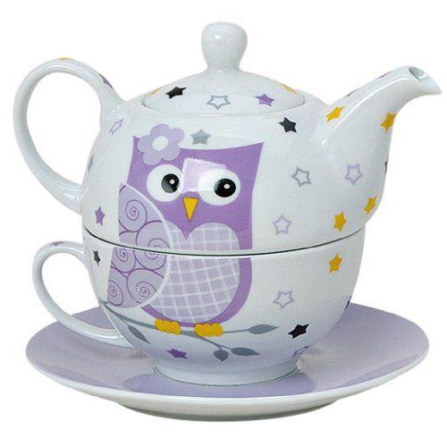 tea for one set 3 teilig porzellan teekanne mit tasse und untertasse in geschenkbox lila g. Black Bedroom Furniture Sets. Home Design Ideas