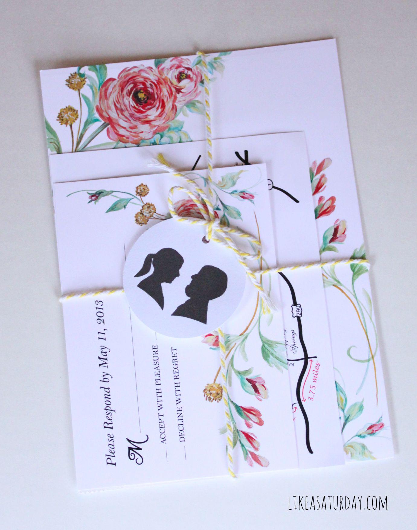 Hand Painted Fl Wedding Invitations Like A Saay